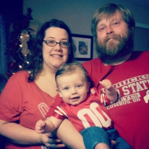 Joy, Ryan, and baby Raphael ready to cheer on the Buckeyes!